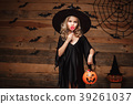 Halloween Witch concept - little witch child with 39261037