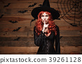 Halloween witch concept - Happy Halloween red hair 39261128