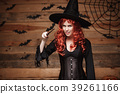 Halloween witch concept - Happy Halloween red hair 39261166