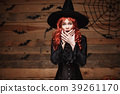 Halloween witch concept - Happy Halloween red hair 39261170