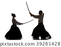 Man and woman fighting and training aikido on 39261428