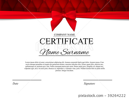 Certificate template Background with red bow 39264222