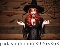 Halloween witch concept - Happy Halloween red hair 39265363