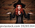 Halloween witch concept - Happy Halloween red hair 39265364