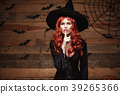 Halloween witch concept - Happy Halloween red hair 39265366
