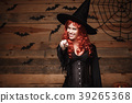 Halloween witch concept - Happy Halloween red hair 39265368