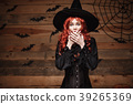Halloween witch concept - Happy Halloween red hair 39265369