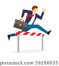 Achieving goal. Businessman jumping over hurdle 39266035