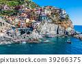 Village of Manarola with ferry, Cinque Terre, 39266375