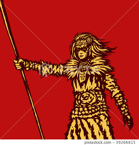 Warrior girl is holding a spear. Vector 39266815