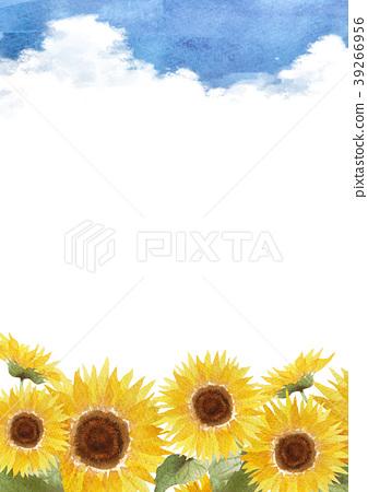 向日葵傳入的路背景水彩例證 39266956