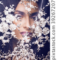 beauty young woman throw white lace close up 39267207