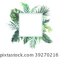 Leaves border with square wedding decoration  39270216