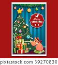 Funny cartoon dog.Christmas vector illustration. 39270830