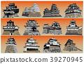 日本城堡现存Tenshu日落回 39270945
