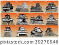 日本城堡现存Tenshu日落回 39270946