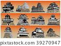 日本城堡现存Tenshu日落回 39270947
