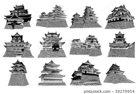 黑白日本城堡现存的塔 39270954