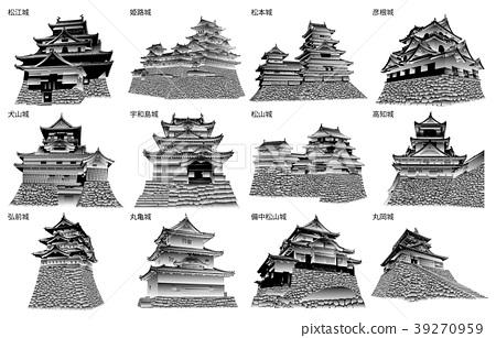 黑白日本城堡现存的塔 39270959
