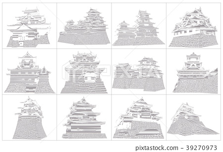 Japanese castle extant Tenmon silver 2 39270973