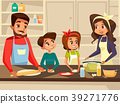 Modern European family cooking at kitchen vector 39271776