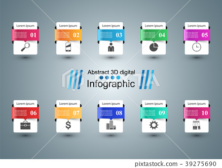 Infographic design. List of 10 items. 39275690
