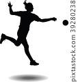 handball girl player silhouette 39280238