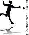 handball girl player silhouette 39280239