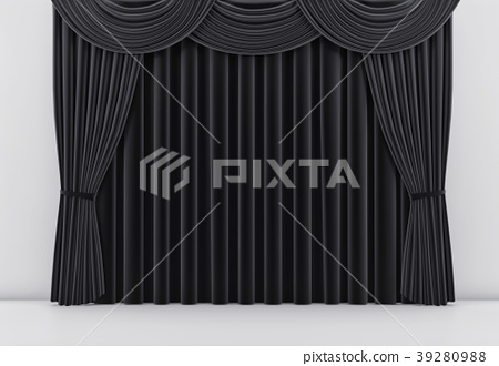 Theater stage with black curtain. 3 d render 39280988