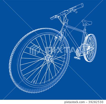 Bicycle blueprint 3d illustration 39282530