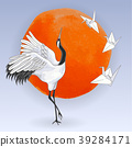 Japanese dancing crane and paper birds over sunset 39284171