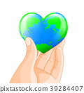 Human hand holding heart shape of planet Earth.  39284407