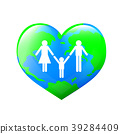 Family over world. Heart shape of earth planet.  39284409