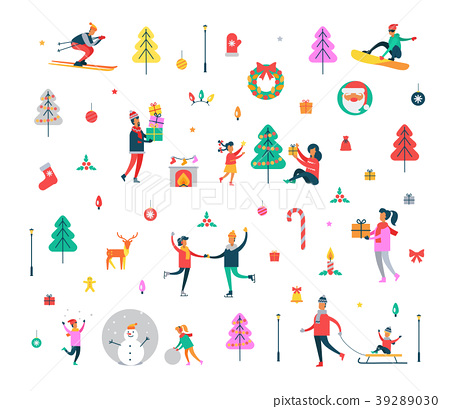 New Year Pattern of People and Holiday Symbols 39289030