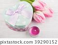 Gift box as heart and tulips 39290152