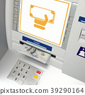 ATm machine with banknotes in the money slot 39290164