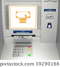 ATm machine with banknotes in the money slot 39290166