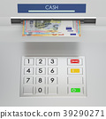Atm machine keypad with euro banknotes 39290271