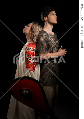 Handsome viking with his beautiful wife shot 39290960
