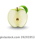 Vector Realistic Green Apple Cut in Half   39293953