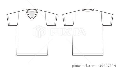 V领T恤图案例证/白色 39297114