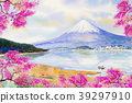 Mount Fuji and sakura cherry blossom at Lake. 39297910