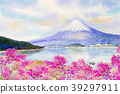 Mount Fuji and sakura cherry blossom at Lake. 39297911