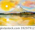 Mount Fuji, lake kawaguchiko in sunset. 39297912