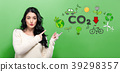 Reduce CO2 with young woman 39298357