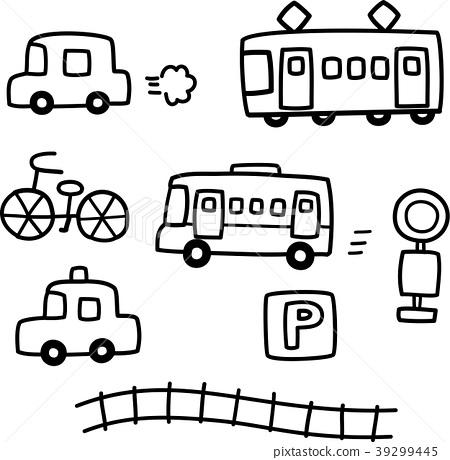 手写的汽车和火车 39299445
