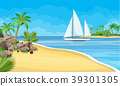 Paradise beach of the sea with yachts 39301305