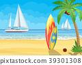 surfboards on a beach against a sunny seascape 39301308