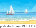 Paradise beach of the sea with yachts 39301314
