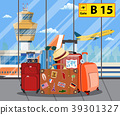 Travel suitcases inside of airport with a plane, 39301327